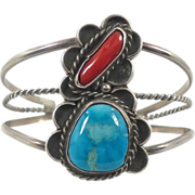 Turquoise & Coral Sterling Silver Cuff Bracelet - Vintage Navajo Signed- InVintageHeaven