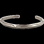 Vintage Navajo Sterling Silver Cuff Bracelet - Native American - Rattlesnake Jaw Pattern - InVintageHeaven