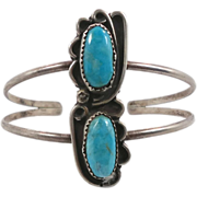 Turquoise Sterling Silver Cuff Bracelet - Vintage Older Piece - Double Two Stones - InVintageHeaven