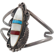 Mother-of-Pearl Turquoise Coral Silver Cuff Bracelet - Vintage Native American Older Piece - InVintageHeaven