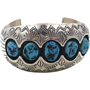 Turquoise Cuff, Sterling Silver, Vintage Bracelet, Navajo, Signed, P. Benally, Shadowbox, Unisex, Large Big Huge, Statement, Boho Bohemian