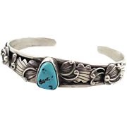 Turquoise Cuff, Sterling Silver, Vintage Bracelet, Detailed Ornate, Signed, Small Wrist, Native American, Feathers, Boho Stacking