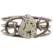 White Turquoise Cuff, White Buffalo Stone, Sterling Silver, Vintage Bracelet, Heavy Silver, Chunky Cuff, Boho Bohemian, 1970s 70s  Ask a question