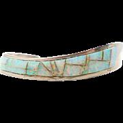Sterling Silver, Opal Cuff, Vintage Bracelet, Native American, Inlay Inlaid, Zuni, Unisex Mens Mans, Fiery Lab Opal, Signed Jay Jay
