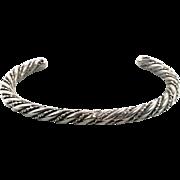Sterling Silver, Cuff Bracelet, Vintage Bracelet, Navajo, Native American, Twisted Pattern, Boho Jewelry, Bohemian, Stacking Bracelet, Heavy