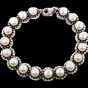 Pearl Bracelet, Sterling Silver, Vintage Bracelet, Cultured Pearls, Tennis Bracelet, Honora Designer, Pellini Collection, Links Linked