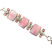 Pink Shell Bracelet, Conch Shell, Rose Quartz, Sterling Silver, Vintage Bracelet, MOP Flowers, Pearls, Big Statement, Links, Pink Jewelry