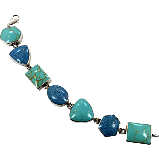 Turquoise Bracelet, Denim Lapis, Blue Stone, Sterling Silver, Vintage Bracelet, Links Linked, Bohemian, Vintage Jewelry, Big Stones