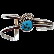 Turquoise Bracelet, Sterling Silver, Cuff Bracelet, Feather, Native American, Signed, Vintage Bracelet, Southwestern, Modern, Bohemian