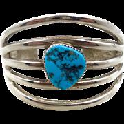 Turquoise Bracelet, Sterling Silver, Cuff Bracelet, Vintage Navajo, Heavy Silver, Sandcast, Boho Bohemian, Big Statement, Native American