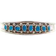 Turquoise Bracelet, Sterling Silver, Vintage Cuff, Zuni Signed, Native American, Snake Eyes, Small Wrist, Boho Bohemian, Stacking Layer