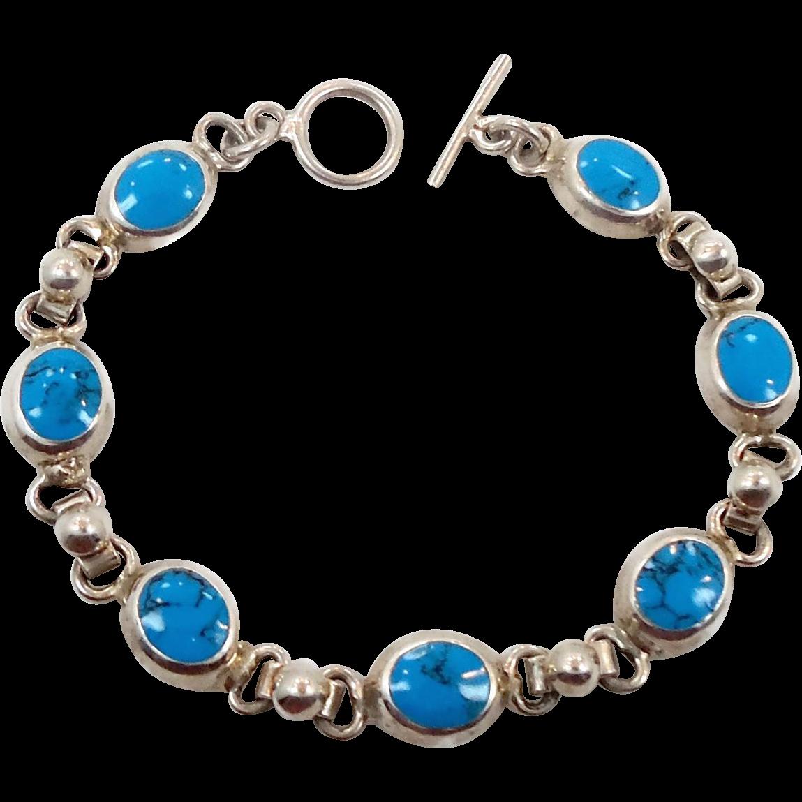 turquoise bracelet sterling silver vintage bracelet 925. Black Bedroom Furniture Sets. Home Design Ideas