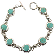 Turquoise Bracelet, Sterling Silver, Vintage Bracelet, Links Linked, Bohemian, Southwestern, Tribal Ethnic, Country Western, Vintage Jewelry