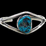 Turquoise Bracelet, Sterling Silver, Cuff Bracelet, Vintage Bracelet, 1970s, Native American, Boho Statement, Bohemian, Ethnic, Stacking