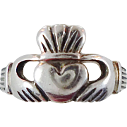 Claddagh Ring, Sterling Silver, Vintage Ring, Irish Jewelry, Celtic Ring, 925, Toe Ring, Adjustable, Irish Wedding, Heart, Crown, Hands