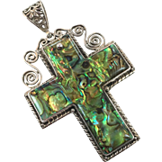 Shell Cross, Abalone Pendant, Sterling Silver, Vintage Pendant, Huge Cross, Unique, Unusual, Vintage Jewelry, Boho Bohemian, Beach Mermaid