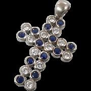 Big Cross Pendant, Sterling Silver, Vintage Cross, Cobalt Blue, Clear CZ, Heavy 925, Statement, Signed, Unusual Unique, Renaissance, Modern