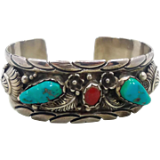 Turquoise Coral Cuff, Sterling Silver, Vintage Bracelet, Navajo Bracelet, Signed, Cuff Bracelet, Small Wrist, Native American, Boho Jewelry