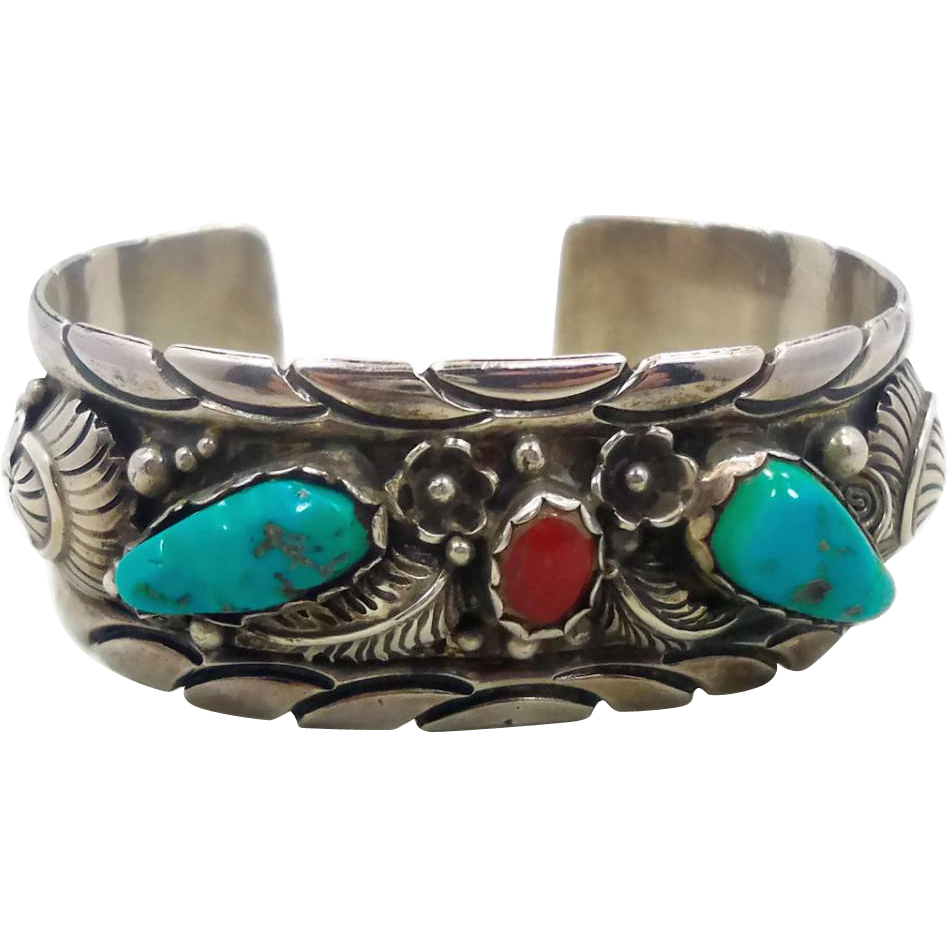 Turquoise coral cuff sterling silver vintage bracelet for Sterling silver navajo jewelry