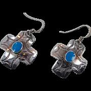 Turquoise Earrings, Cross, Sterling Silver, Vintage Earrings, Southwestern, Pierced Dangle, Country Western, Boho Statement, Large
