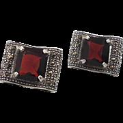 Marcasite Earrings, Sterling Silver, Vintage Earrings, Faux Garnet, Pierced Earrings, Posts, 925, Red Stone, Vintage Jewelry, Art Deco Style