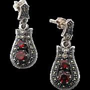 Garnet Earrings, Marcasite Earrings, Sterling Silver, Vintage Earrings, Pierced Earrings, Posts, Dangle Earrings, 925, Gemstone Jewelry