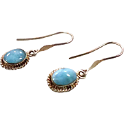 Larimar Earrings, Blue Stone, Sterling Silver, Vintage Earring, Pierced Dangle, Dolphin Stone, Stefilia Stone, Pectolite, Atlantis