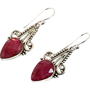 Ruby Earrings, Sterling Silver, Vintage Earrings, Corundum, Large Stone, Statement Earrings, Red Gemstones, Big Dangles, Pierced Earrings