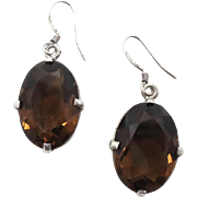 Smokey Brown Earrings, Smoky Faux Quartz, Oval Stones, Sterling Silver, Vintage Earrings, Statement, Faceted Stones, Big, Pierced Dangle