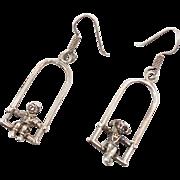 Unique Earrings, Boy Girl, Swing Earrings, People, Sterling Silver, Vintage Earrings, Dangle Earrings, Pierced, Unusual, Long Large