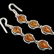 Amber Earrings, Sterling Silver, Long Dangles, Baltic Amber, Vintage Earrings, Pierced Dangles, Honey Amber, Boho Jewelry, 925, Large