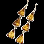 Amber Earrings, Sterling Silver, Long Dangles, Baltic Amber, Vintage Earrings, Pierced Earrings, Honey Amber, Statement Boho Jewelry, Modern