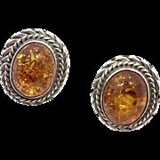 Honey Amber Earrings, Baltic Amber, Sterling Silver, Vintage Earrings, Pierced Posts, Boho Jewelry, Ethnic Tribal, Vintage Jewelry