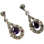 Amethyst Earrings, Marcasite, Sterling Silver, Vintage Earrings, Pierced Dangles, Gemstone, Sparkling, Elegant Boho, Statement, Big Long