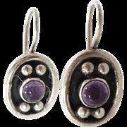 Amethyst Earrings, Sterling Silver, Vintage Earrings, Heavy Silver, Pierced Dangle, Purple Stone, Boho Jewelry, Bohemian, Ethnic Tribal