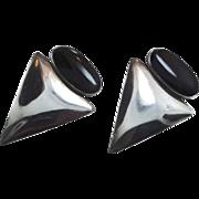 Black Onyx Earrings, Sterling Silver, Modern, Vintage Earrings, Big Statement, Contemporary, Large Triangle, Boho Jewelry, Minimalist
