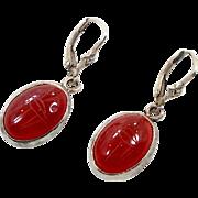 Carnelian Earrings, Scarab Beetle, Sterling Silver, Vintage Earrings, Egyptian Egypt, Exotic Boho, Gemstone, Gypsy Bohemian, Red Stone
