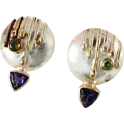 Tourmaline Earrings, Purple Iolite, Vintage Earrings, 925 Silver, Modern, Contemporary, Studio Quality, Gold Trim, Unique Unusual, Pierced