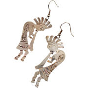 Kokopelli Earrings, Sterling Silver, Vintage Earrings, Flute Player, Big Statement, Native American, Southwestern Boho, Large Pierced Long