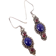 Lapis Earrings, Red Garnet, Sterling Silver, Vintage Earring, Ethic Tribal, Boho Statement, Blue Stone, Bohemian, Pierced Dangles, Large