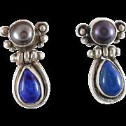 Lapis Earrings, Sterling Silver, Gray Pearl, Blue Stone, Vintage Earrings, Pierced, Boho Statement, Bohemian, Ethnic Tribal, Stone Jewelry