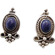Lapis Earrings, Sterling Silver, Blue Stone, Vintage Earrings, Pierced, Boho Statement, Bohemian, Ethnic Tribal, Stone Jewelry, Posts