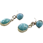Larimar Earrings, Sterling Silver, Vintage Earrings, Dolphin Stone, Blue Stone, Dangles, Pierced Posts, Stefilia Stone, Atlantis