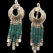 Green Malachite, Sterling Silver, Vintage Earrings, Long Dangles, Boho Jewelry, Bohemian, Tribal, Southwestern, Beaded, Country Western