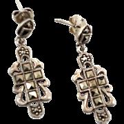 Marcasite Earrings, Cross Earrings, Sterling Silver, Vintage Earrings, Dangle, Pierced, Statement, Black Stones, Bohemian, Gothic Evening