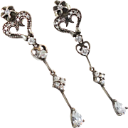 Long CZ Earrings, Sterling Silver, Vintage Earrings, Pierced Dangles, Rhinestone, Ornate Sparkling, Elegant Evening, Hearts Faceted