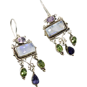 Moonstone Earrings, Amethyst, Iolite Peridot, Sterling Silver, Vintage Earrings, Pierced Dangle, Big Statement, Mixed, Multi Gemstones