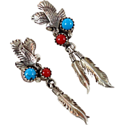 Eagle Earrings, Turquoise Coral, Sterling Silver, Vintage Earrings, Big Long, Dangle Pierced, Feathers, Native American, Country Western