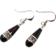 Black Onyx Earrings, Sterling Silver, Vintage Earrings, Marcasite, Dangle Pierced, Ethnic Tribal, Boho Statement, Bohemian, Gypsy Jewelry