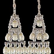 Pearl Earrings, Long Dangle, Sterling Silver, Vintage Earrings, Pierced, Chandelier, Elegant Boho, Bohemian, Evening, Vintage Jewelry